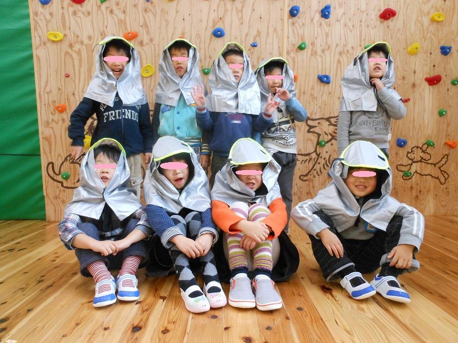 幼稚園児に大人気の携帯防災頭巾