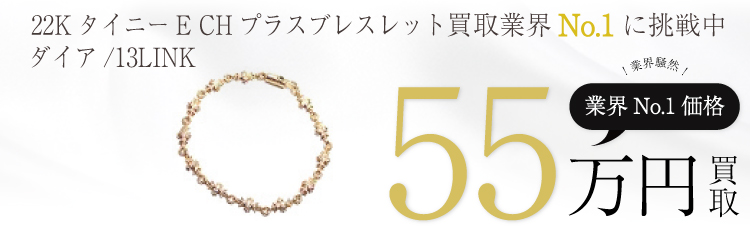22KタイニーE CHプラスブレスレット withダイア 13LINK 55万買取