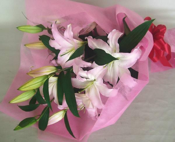 ht-0030 ピンク大輪ユリ花束