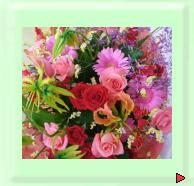 お祝いギフト用花束、華やかなイメージでお作りしました。
