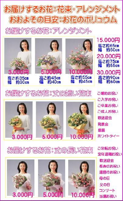 お届けするお花:花束・アレンジメント大きさの目安
