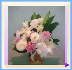 woa-301-1 幅30㎝・高さ35㎝ ペット用お供えのお花(ホワイト+ピンク):3.150円