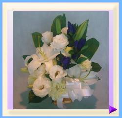 woa-351 幅30㎝・高さ35㎝ ペット用お供えのお花(ホワイト+ブルー):3.675円