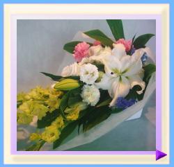 woh-452 幅35㎝・高さ50㎝ ペット用お供えのお花「ミックス系(ホワイト+ピンク+ブルー+イエロー)」:5.250円