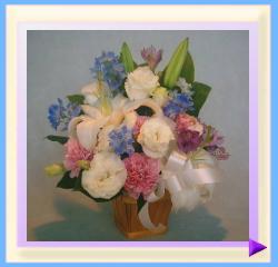 woa-401-1 幅35㎝・高さ40㎝ ペット用お供えのお花(ホワイト+ピンク+ブルー):4.200円