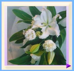 woh-301 幅25㎝・高さ40㎝ ペット用お供えのお花(ホワイト):3.150円
