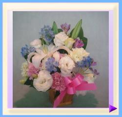 woa-401-4 幅35㎝・高さ40㎝ ペット用お供えのお花(ホワイト+ピンク+ブルー)(リボンピンク):4.200円