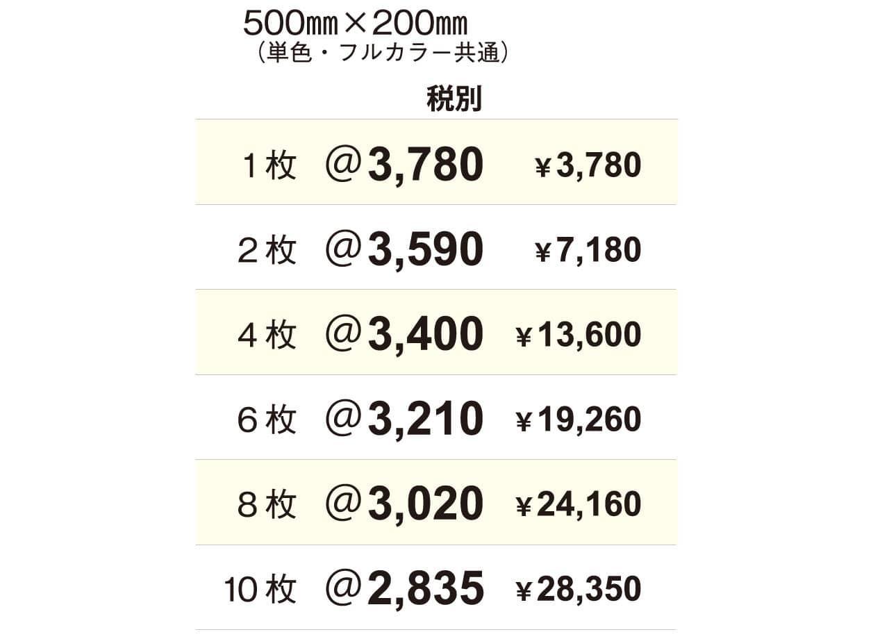 車両用マグネットシート料金表