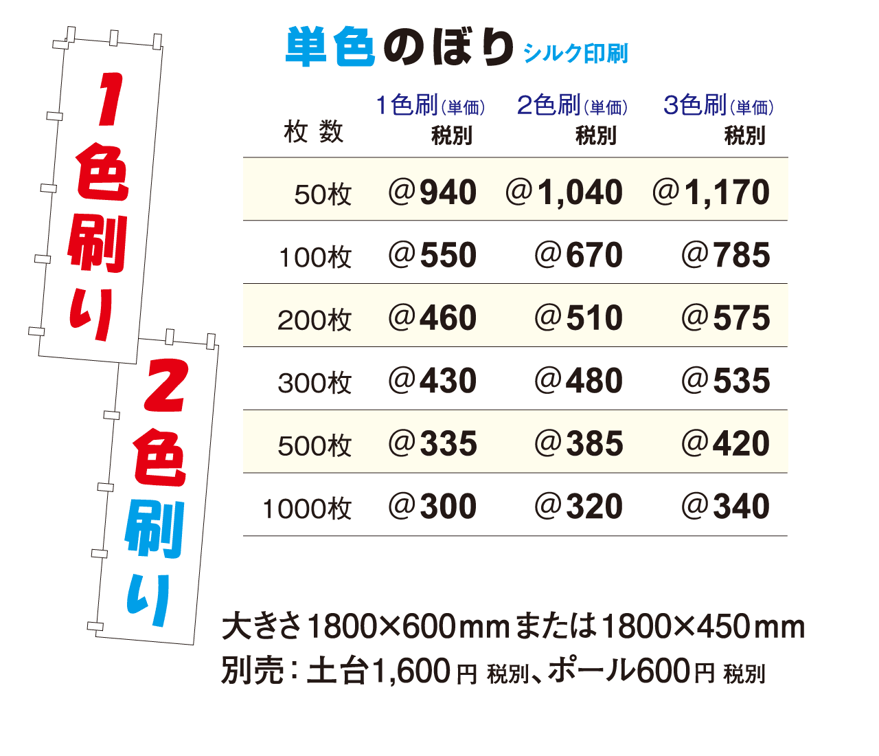 単色のぼり料金表