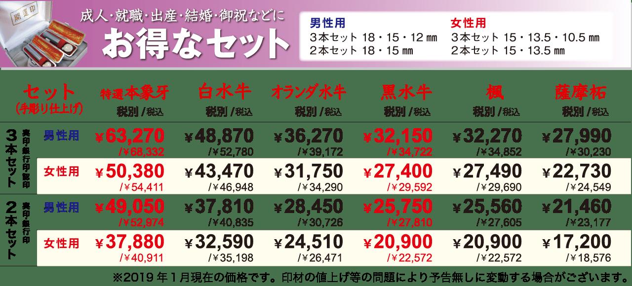 印鑑のお得なセット価格表