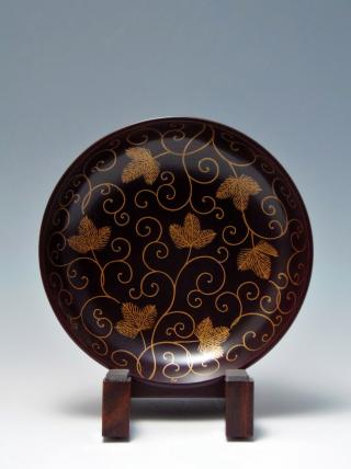 木彫り 置物 木製台鉢 金絵 唐花文 骨董品