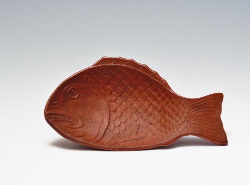 古備前焼 魚型皿 蓮華