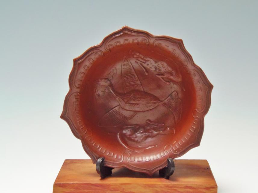 鶴柄 深皿 古美術品