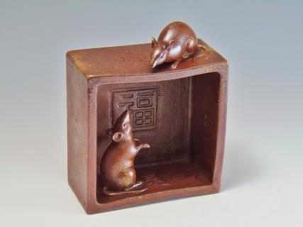 招福 桝 鼠の置物 小西陶古