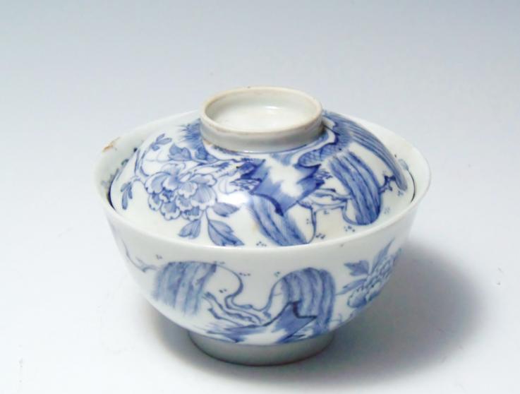 古伊万里 蓋付飯碗茶碗 柳牡丹 骨董品