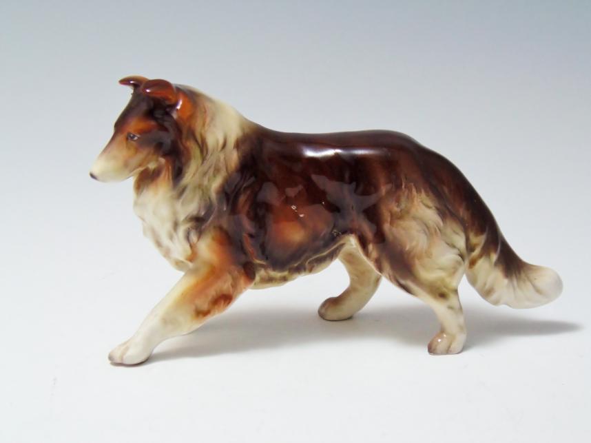 犬 置物 コリー 陶器 骨董品