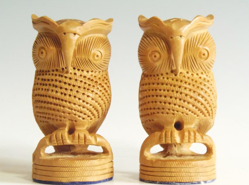 木彫り 夫婦フクロウ