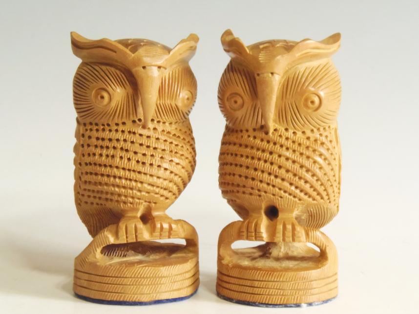 木彫り 置物 夫婦フクロウ