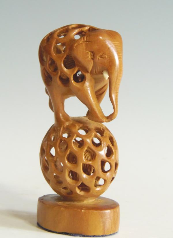 木彫 置物 子持ちインド象