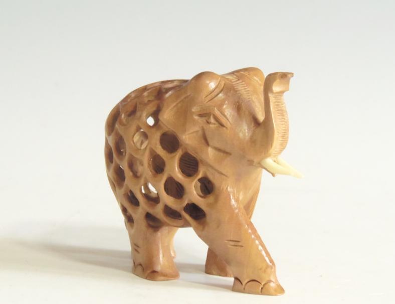 木彫り置物 子持ち象