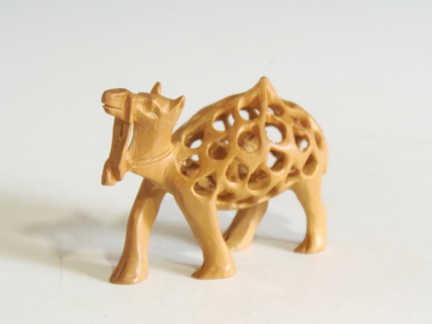 木彫 置物 子持ラクダ