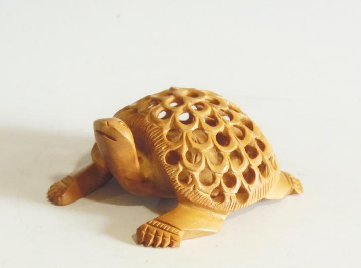 木彫 置物 子持ち亀