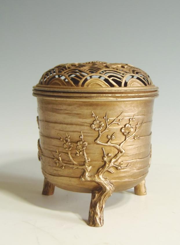 銅製 松竹梅香炉