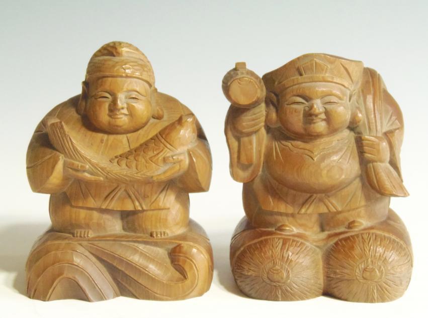 木彫り 大黒天・恵比寿