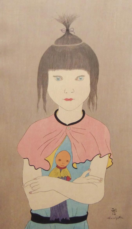 レオナール・フジタ 人形を抱く少女 木版画販売
