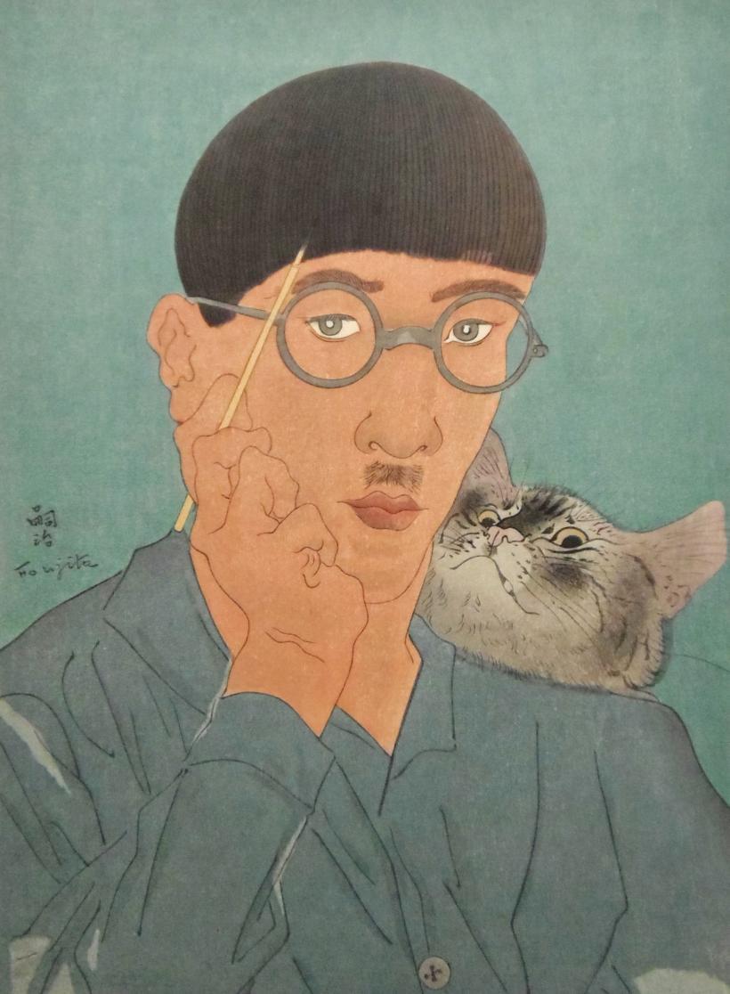 藤田嗣治 猫と自画像 販売