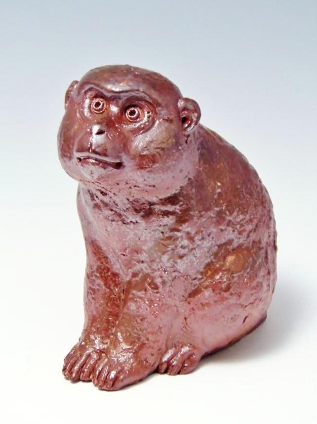 猿陶器置物
