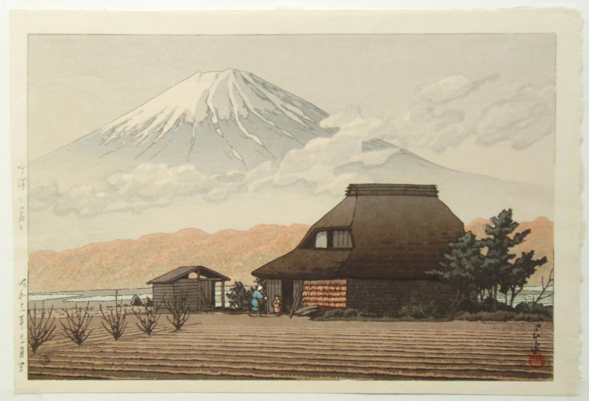 川瀬巴水 鳴沢乃富士 木版画