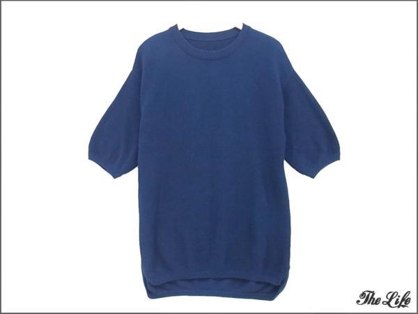 crepuscule×the Sakaki鹿の子編みニットTシャツ NAVY F/ネイビー/クレプスキュール/サカキ
