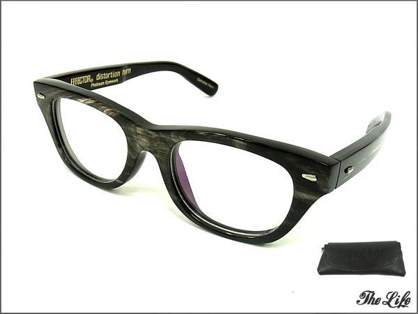 EFFECTORエフェクターdistortion Genuin Hornサングラス BLACK&WHITE ケース付属 バッファローホーン(水牛角) 眼鏡