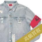 424高価買取 アームバンド袖ジップクラッシュデニムジャケット高額査定!