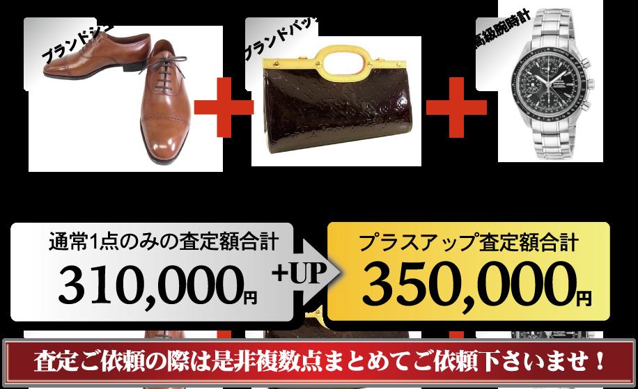 靴やバッグやブランド衣類をまとめて売るとお得なプラスアップキャンペーン開催中!