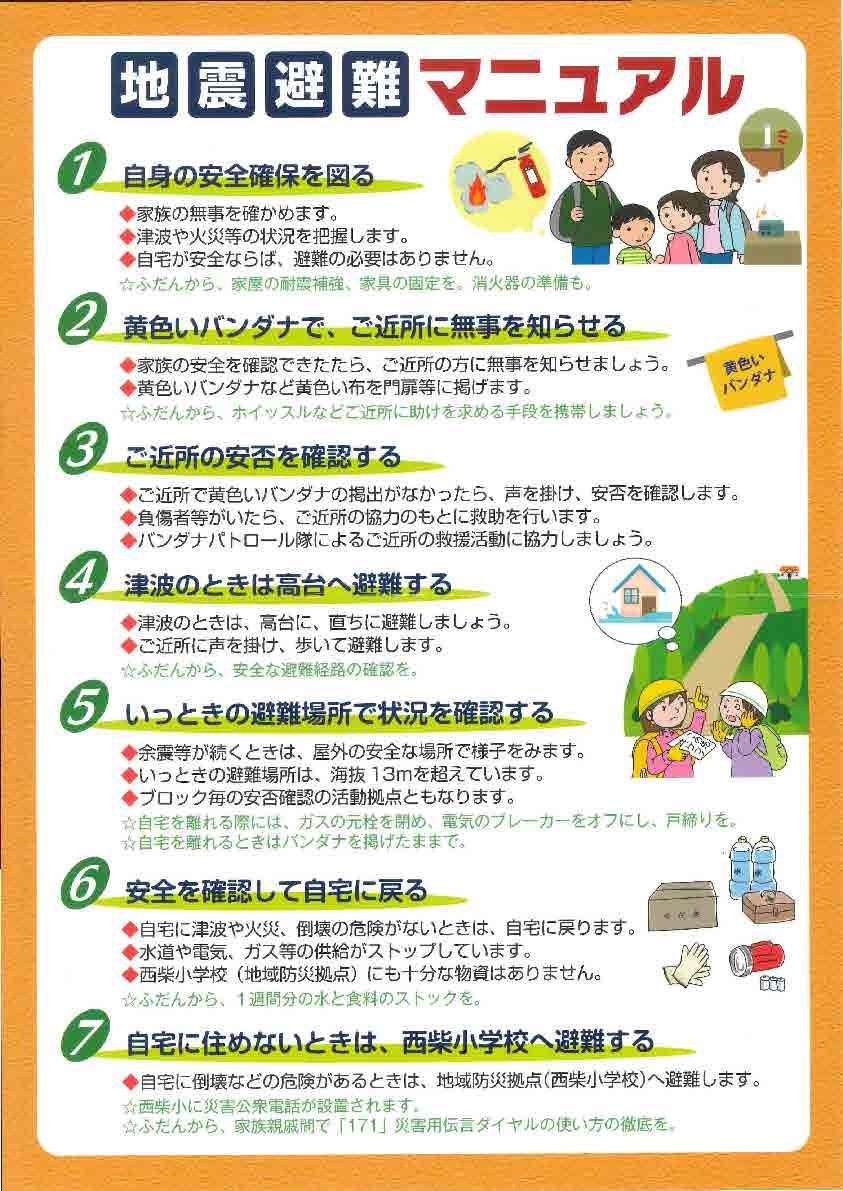 地震の時の避難マニュアル