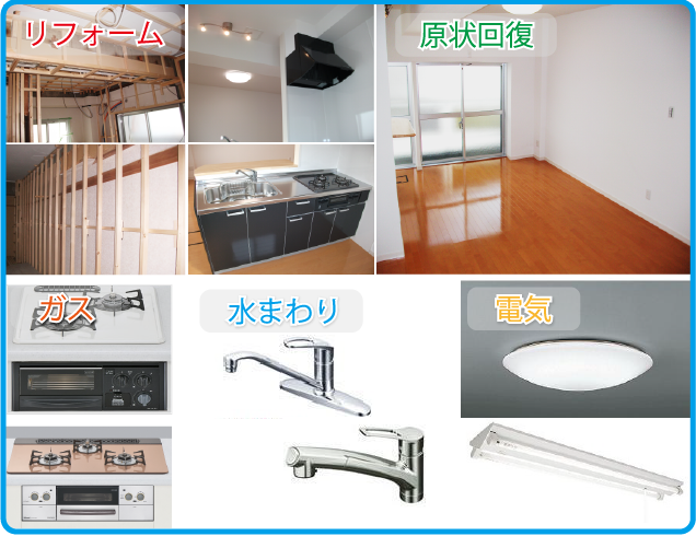 キッチン-レンジフード-ガスコンロ-水洗-照明-リフォーム現場の写真