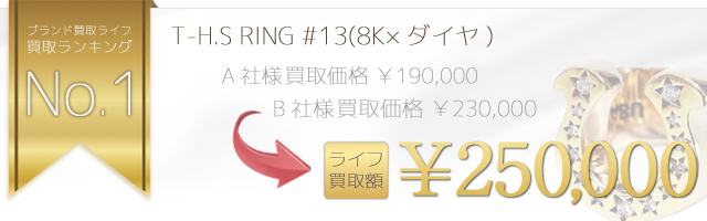 T-H.S RING ホースシューリングSize:#13(8K×ダイヤ) 正規取扱店レシート付属 25万円買取