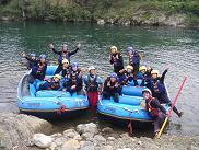 ラフティング長良川で集合写真
